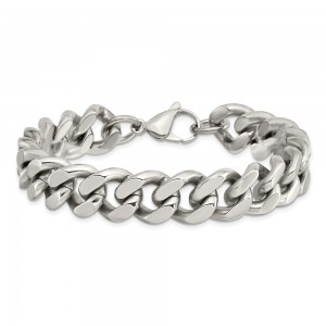 Stainless Steel Polished 13.75mm 8.5in Curb Chain