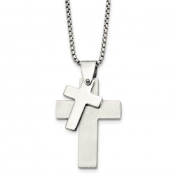 Stainless Steel Polished Crosses 24in Necklace