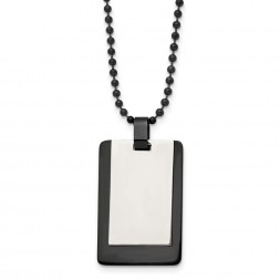 Stainless Steel Polished Black IP-plated 2 piece Dog Tag 24in Necklace