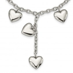 Stainless Steel 18in Polished Hearts Y Necklace