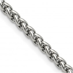 Stainless Steel Polished 4mm 20in Wheat Chain