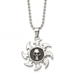 Stainless Steel Antiqued and Polished Saw Blade w/ Skull 24in Necklace