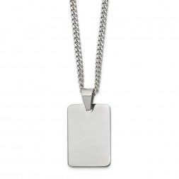 Stainless Steel Polished Dog Tag 24in Necklace