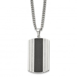 Stainless Steel Polished w/Black Carbon Fiber Inlay & CZ Dog Tag Necklace