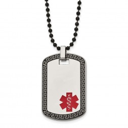 Stainless Steel Antiqued & Polished Greek Key Edge Medical ID Necklace
