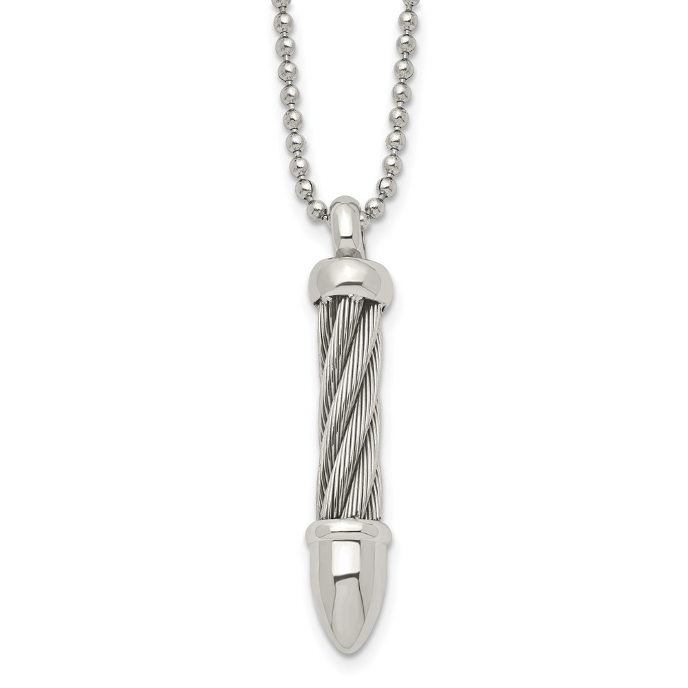 Stainless Steel Polished Twisted Wire Bullet 24in Necklace