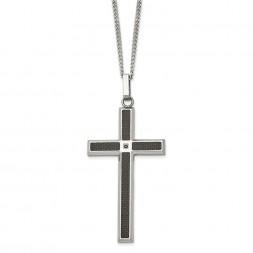 Stainless Steel Black Carbon Fiber Inlay & Black Diamond Cross Necklace