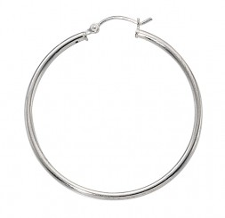 Ladies Sterling Silver 2MM/40MM Click Hoop Earrings