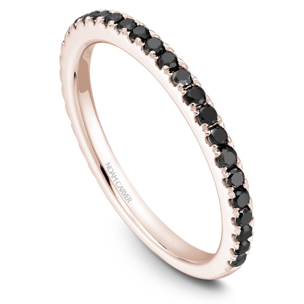 Noam Carver Rose Gold Stackable Ring With 29 Round Black Diamonds