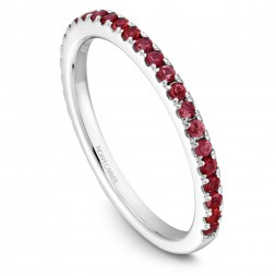 Noam Carver White Gold Stackable Ring With 29 Round Rubies