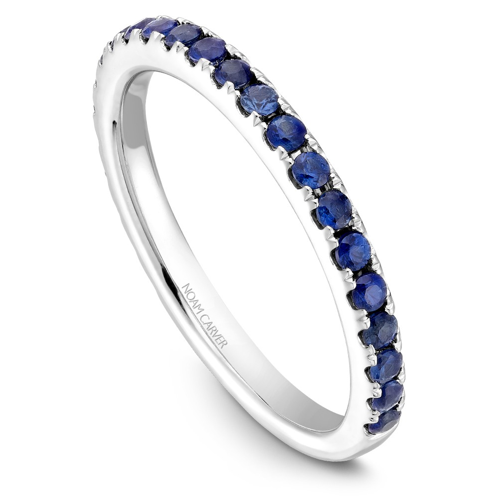 Noam Carver White Gold Stackable Ring With 24 Round Blue Sapphires