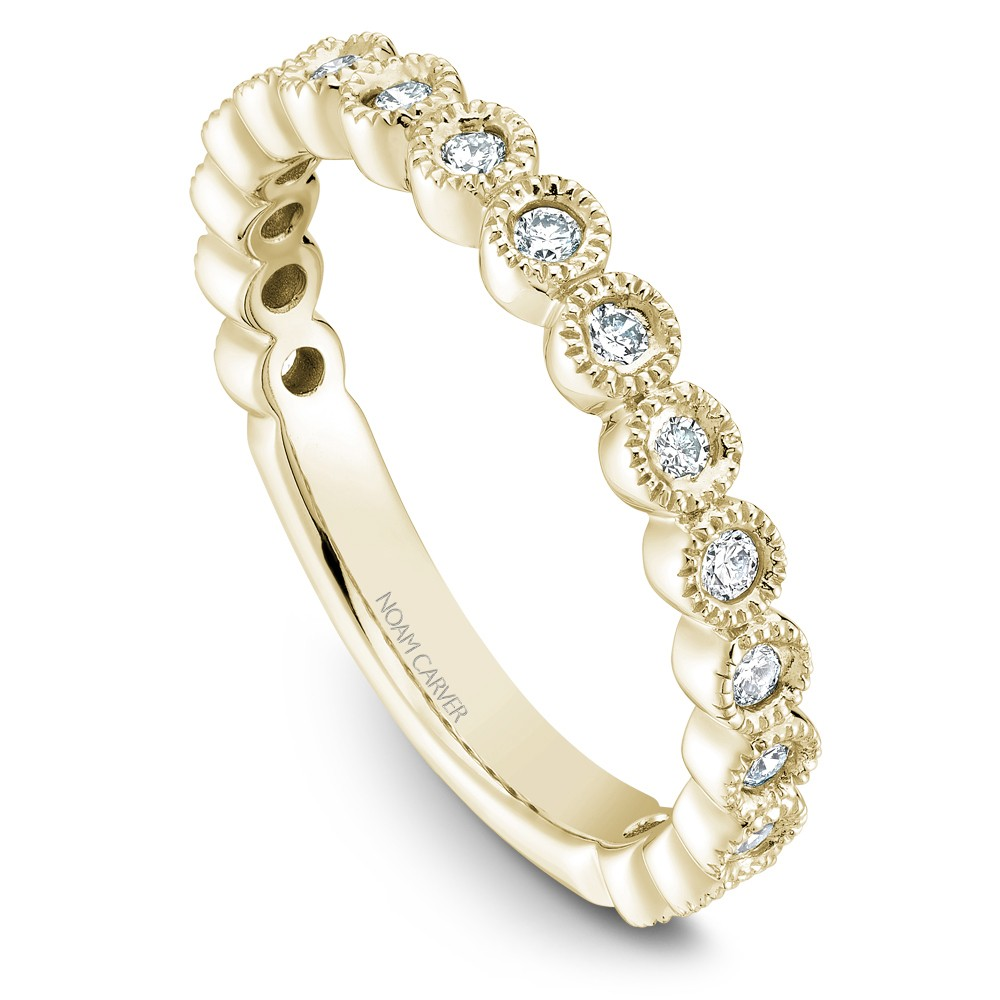 Noam Carver Yellow Gold Stackable Ring With 17 Round Diamonds