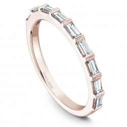 Noam Carver Rose Gold Stackable Ring With 9 Baguette Diamonds