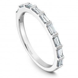 Noam Carver White Gold Stackable Ring With 9 Baguette Diamonds