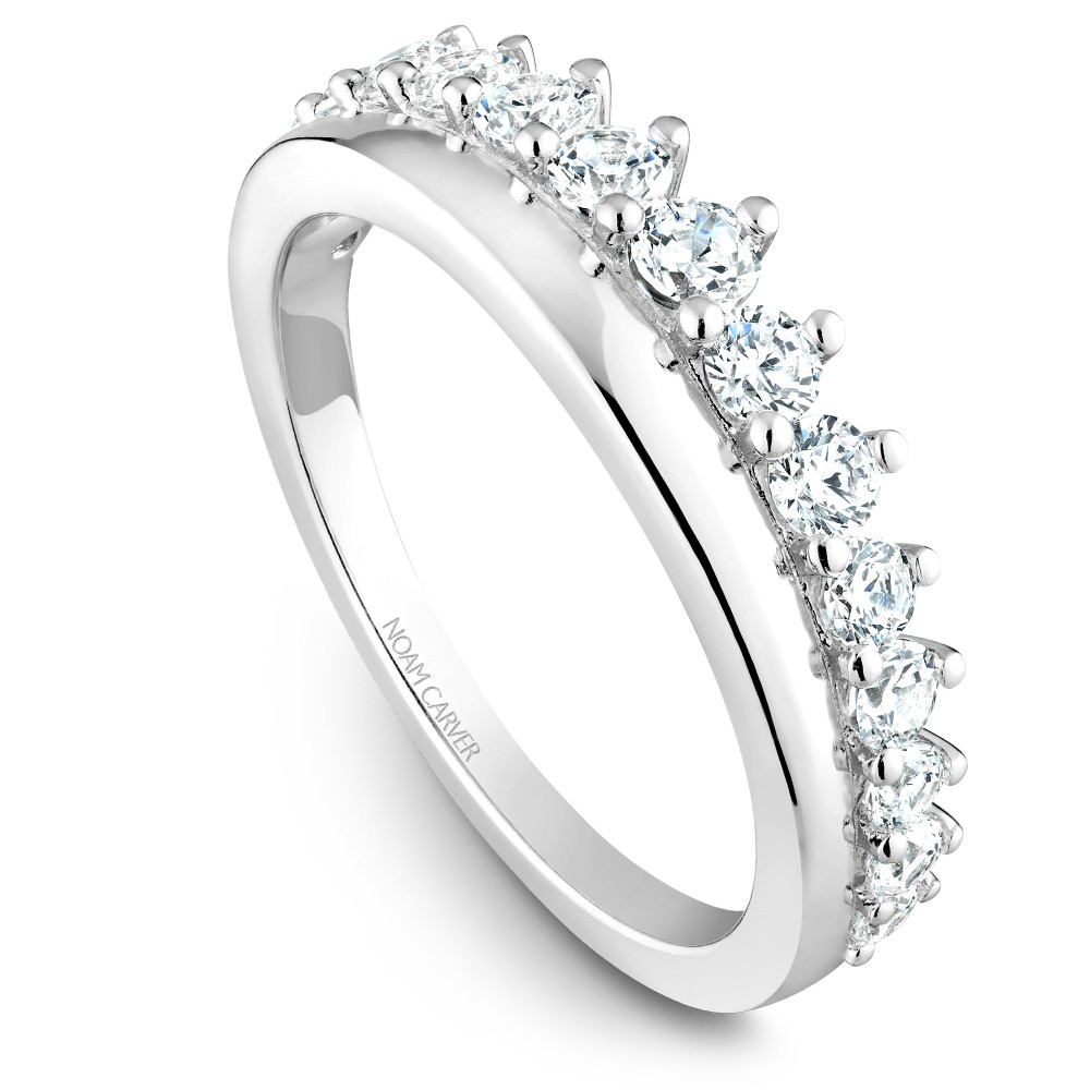 Noam Carver White Gold Stackable Ring With 15 Round Diamonds