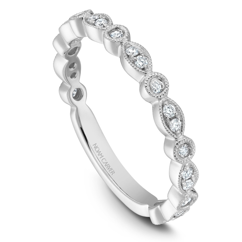 Noam Carver White Gold Stackable Ring With 22 Round Diamonds