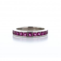 14Kt White Gold Pink Tourmaline Band (.85ctw)