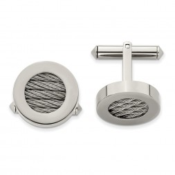 Titanium & Steel Wire Brushed and Polished Cuff Links