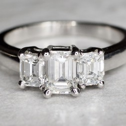 Three Emerald Cut Diamond Ring (1.54ctw)