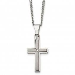 Titanium Brushed and Polished w/.03ct Diamond Cross 22in Necklace