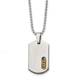 Titanium Polished Yellow IP-plated Dog Tag 22in Necklace