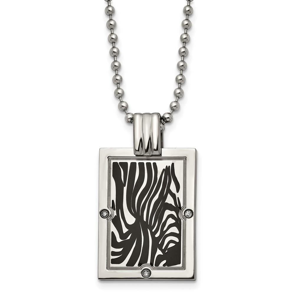 Titanium Polished Black Enamel with 1/20ct. Diamond 24in Necklace