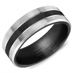 A Black Titanium Torque Band With White Edges.