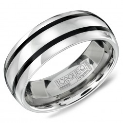 A Tungsten Torque Band With A Black Enamel Inlay.