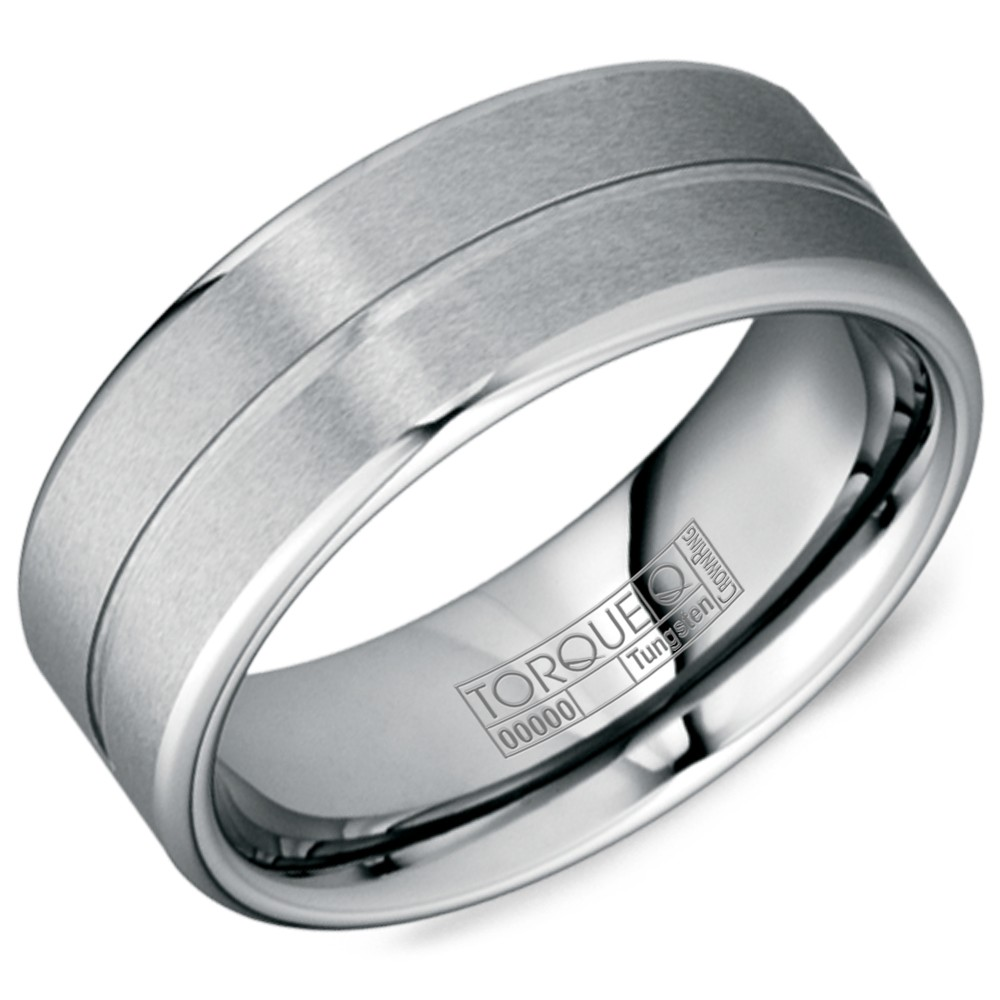 A Tungsten Torque Band With A Brushed Finish And Line Detaling.