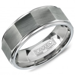 A Tungsten Torque Band With An Architectural Design.