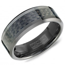 A Black Ceramic Torque Band With A Black Carbon Fiber Inlay.