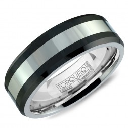 A Black Ceramic Torque Band With A White Center.