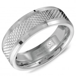 A Tungsten Torque Band With A Patterned Center And Beveled Edges.