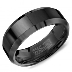 A Black Ceramic Torque Band With Beveled Edges.