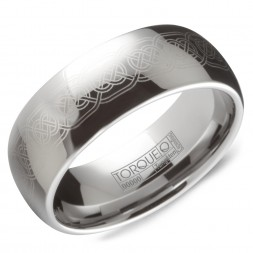 A Tungsten Torque Band With A Laser Engraved Design.