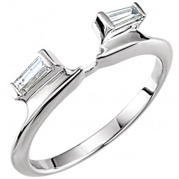 14K White Tapered Baguette Wrap-Style Ring Enhancer (.20ct)