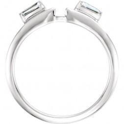 14K White Tapered Baguette Wrap-Style Ring Enhancer (.20ct)
