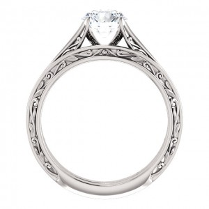 14K White 6.5 mm Round Engagement Ring Mounting