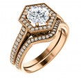 14K Rose 1 CT Moissanite and Diamond Halo-Style Engagement Ring