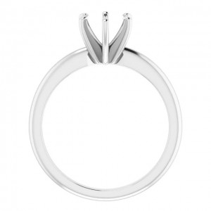 14K White 6.5 mm Classic Solitaire Engagement Ring Mounting