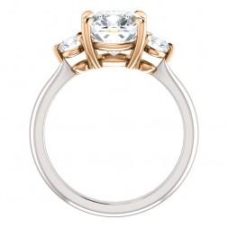 14K White/Rose 8x8 mm Moissanite Cushion Engagement Ring