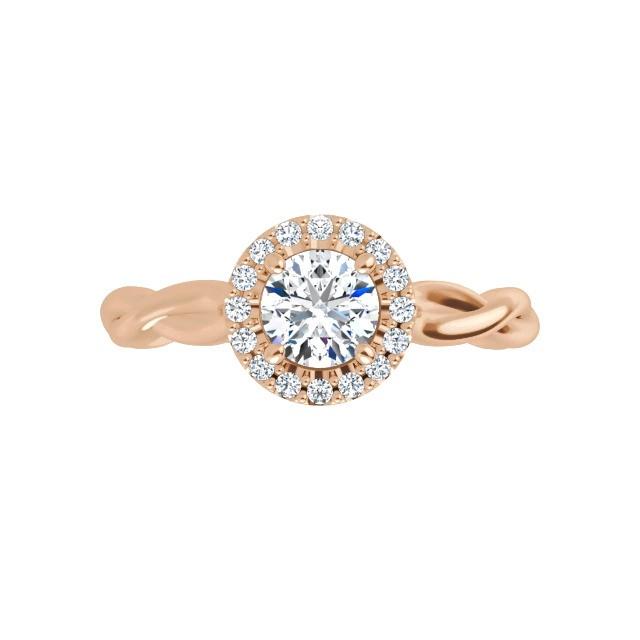 14K Rose 4.4 mm Moissanite Engagement Ring