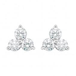 14K White 1/3 CTW Diamond Three-Stone Earrings