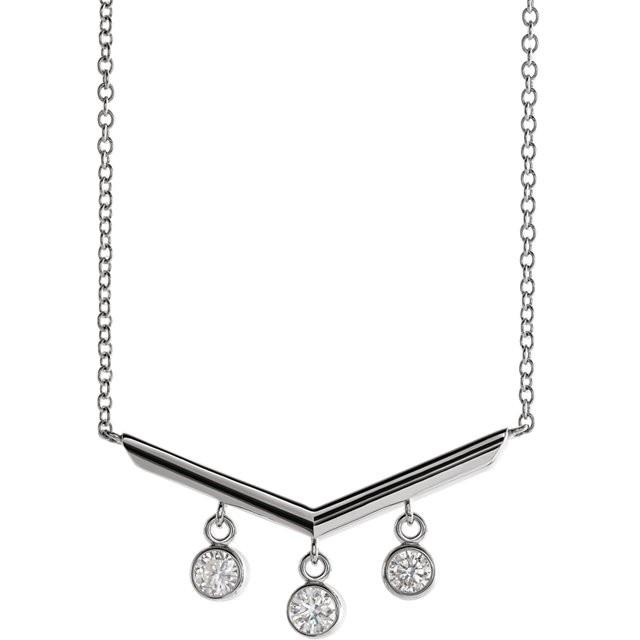 Sterling Silver 1/3 CTW Diamond V Bar 18