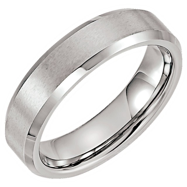 Tungsten 6 mm Satin & Polished Beveled Band