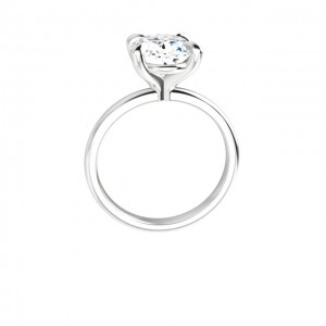 14K White 10x8 mm Oval Solitaire Engagement Ring Mounting