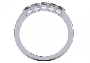 14 KT White Cushion 3/4 CTTW Diamond Band