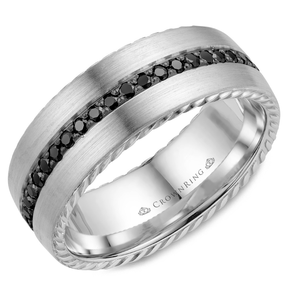 White Gold Contemporary Brushed Wedding Band