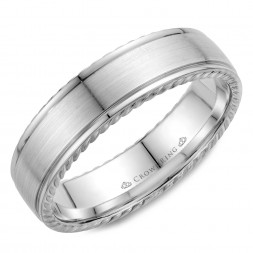 Brushed Center And Rope Detailed Wedding Band