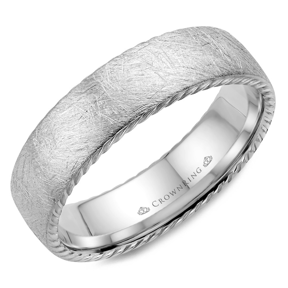 Textured Finish And Rope Detailed Wedding Band